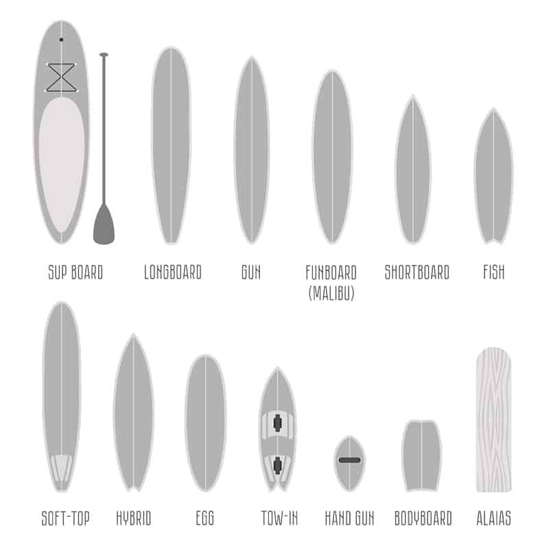 surfboard shapes guide shortboard longboard mini mal fish retro h=gun