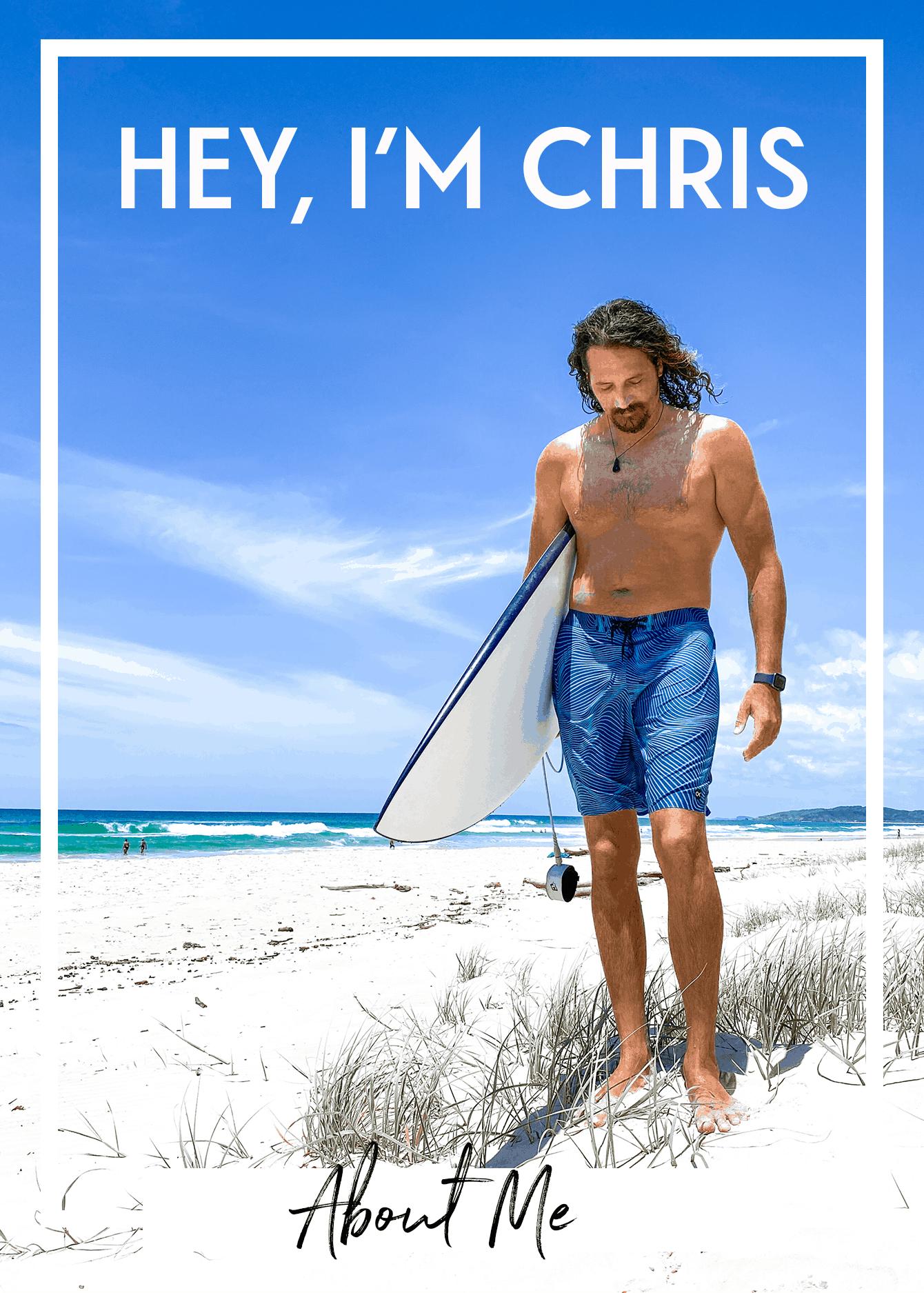chris stevens stoked for travel blogger surf
